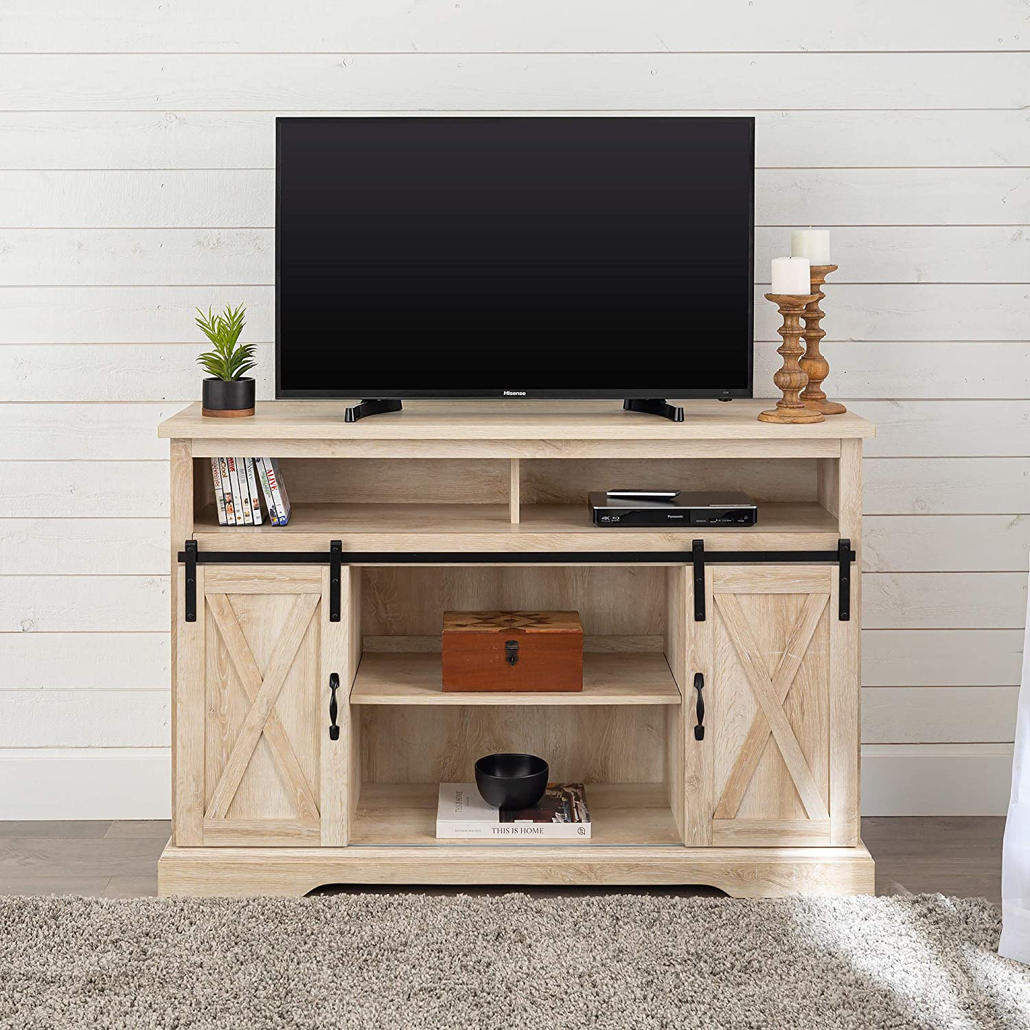 """Walker Edison Furniture Company Modern Farmhouse Sliding Barndoor Wood Tall Universal Stand for TV's up to 58"""" Flat Screen"""
