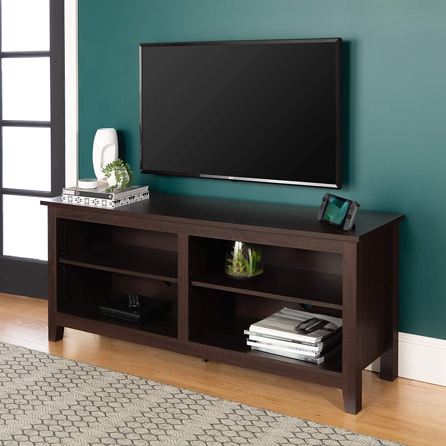 """WE Furniture Minimal Farmhouse Wood Universal Stand for TV's up to 64"""" Flat Screen"""